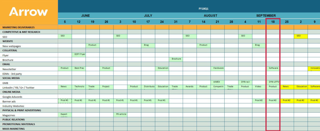 Grab your free Arrow Marketing Calendar template from arrowcomms.com